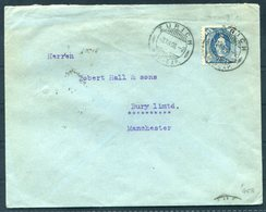 1908 Switzerland August Meili, Zurich Cover - Robert Hall & Sons, Bury Via Manchester. 25c Standing Helvetia - Cartas