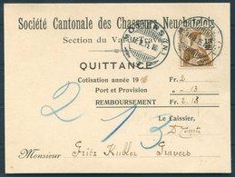 1915 Switzerland Societe Cantonale Des Chasseurs Neuchatelots, Quittance Postcard. 13 Auf 12c Provisional Overprint - Switzerland