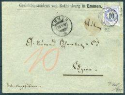 1883 Switzerland Gerichtsprasident Von Rothenburg In Emmen 10c Fraserpapier (N10) Portomarken Cover - Luzern. - 1882-1906 Coat Of Arms, Standing Helvetia & UPU