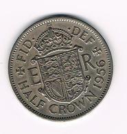 &  GREAT BRITAIN  1/2  CROWN  1956 - 1902-1971 : Monedas Post-Victorianas