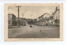 TRES RARE CPA LOIRE SAINT CHAMOND ANIME MOTO BOULEVARD WALDECK ROUSSEAU BE TACHES VIEILLISSEMENT - Saint Chamond