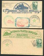 1938 Brazil 3 X BRAPEX Philatelic Congress Postcards . Roland Hill, Penny Black - Brazil