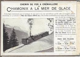 74 CHAMONIX MONT BLANC TRAIN A CREMAILLERE DU MONTENVERS GLACIER DE LA MER DE GLACE PERRIN VOYAGE LAUSANNE - Publicités