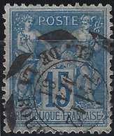 """1876 Sage N/U N°90 15c Bleu Oblitéré Dateur En Scie D'essai  """"Paris Place De La Bourse"""" Superbe !! RR - 1876-1898 Sage (Type II)"""