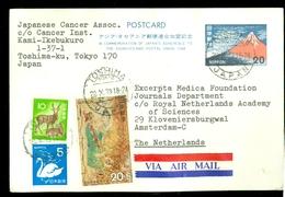 JAPAN BRIEFKAART * Uit 1973 Gelopen Van TOSHIMA Naar AMSTERDAM NEDERLAND   (11.454z) - 1926-89 Emperor Hirohito (Showa Era)