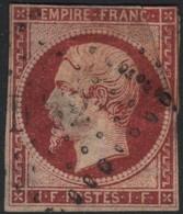FRANCE Y&T N°18 Napoléon 1Fr. Carmin Oblitéré Ambul.(DS2). ST. Côte 3400 Euros - 1853-1860 Napoleone III