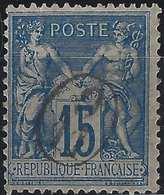 1892 Sage N°101 Papier Quadrillé Obl 15c Bleu N/U Oblitération Cachet De Facteur De Boite Rurale Supplémentaire ... RR - 1898-1900 Sage (Type III)
