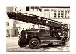 Carte Pompier Bale Camion Echelle Benz - Brandweer