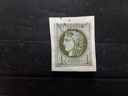 CERES DE BORDEAUX   Yvert No 39 A Report 1 , 1 C Olive , Obl Losange  Sur Fragment,  TTB  Cote 180 Euros - 1870 Bordeaux Printing