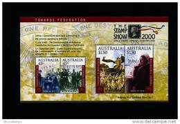 AUSTRALIA - 2000 TOWARDS FEDERATION MS OVERPRINTED LONDON STAMP SHOW MINT NH - Blocchi & Foglietti