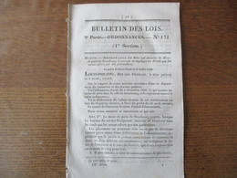 BULLETIN DES LOIS N° 171 ORDONNANCE MONT DE PIETE DE STRASBOURG,CERTICAT DE VIE DES ORPHELINS DE JUILLET..... 8 PAGES - Décrets & Lois