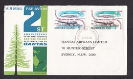 Norfolk Island: FDC First Day Cover To Australia, 1968, 2 Stamps, Qantas Airplane Flight (minor Damage, See Scan) - Norfolk Eiland
