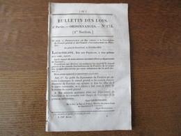 BULLETIN DES LOIS N° 173 DU 2 AOUT 1832 ORDONNANCE DU ROI RELATIVE A LA MEDAILLE DE JUILLET.................  4 PAGES - Decrees & Laws