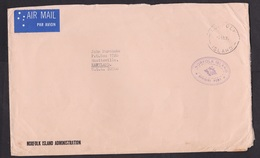 Norfolk Island: Airmail Cover To USA, 1975, Official, Air Label (damaged, See Scan) - Norfolk Eiland