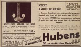 """PUB  LUMINAIRES LUSTRES  """"ART DECO """" """" HUBENS """"   1935 ( 19 ) - Luminaires"""