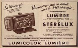 """PUB  APPAREIL STEREOSCOPIQUE ( LE STERELUX ) """" LUMIERE """"   1935 - Appareils Photo"""