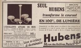 "PUB  LUMINAIRES LUSTRES  ""ART DECO "" "" HUBENS ""   1935 ( 20 ) - Lamps"