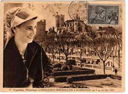 Carte Maximum Avec N°448 Languedoc Oblitérée Expo Philat Narbonne 1953  Circulée Vers Toumozelle(Aude) - Maximum Cards