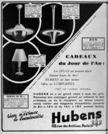 "PUB  LUMINAIRES LUSTRES  ""ART DECO "" "" HUBENS ""   1935 ( 21 ) - Lamps"