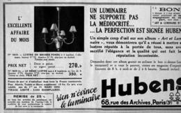 """PUB  LUMINAIRES LUSTRES  """"ART DECO """" """" HUBENS """"   1935 ( 22 ) - Luminaires"""