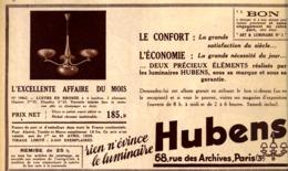 """PUB  LUMINAIRES LUSTRES  """"ART DECO """" """" HUBENS """"   1935 ( 23 ) - Luminaires"""