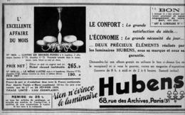 "PUB  LUMINAIRES LUSTRES  ""ART DECO "" "" HUBENS ""   1935 ( 24 ) - Lamps"