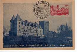 Carte Maximum Avec N°449 Pau Oblitérée Expo Philatélique 1947  Cote Yvert : G1  35E - Maximum Cards