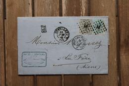 Lettre Pour La France Affranchie Belgique N°17 + N°18 Oblitération PT 91 Couillet 1868 - 1865-1866 Profil Gauche