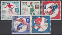 YÉMEN Mi.619-623 Olympische Winterspiele Grenoble 1967 NEUF SANS CHARNIERE-MNH-POSTFRIS - Yemen
