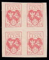 Lituania Centrale (occupazione Polacca)  Stemma 25 F. Cinabro / Quartina - 1920/21 - Lituania