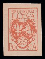 Lituania Centrale (occupazione Polacca)  Stemma 25 F. Cinabro - 1920/21 - Lituania