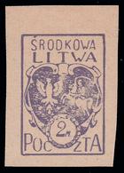 Lituania Centrale (occupazione Polacca)  Stemma 2 M. Violetto - 1920/21 - Lituania