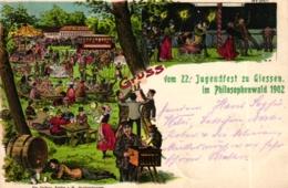 "Giessen, Farb-Litho ""22. Jugendfest Im Philosophenwald 1902"" - Giessen"