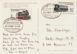 "3 182 Ak Bayer. Bahnhof Leipzig Bahnpost ""HALLE(SAALE)-LEIPZIG-COTTBUS"" 1983 - DDR"