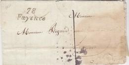 LETTRE.  18 NOV 38.  VAR. CURSIVES 78/FAYENCE. POUR GRASSE. TAXE PLUME 1/  2 - Marcophilie (Lettres)
