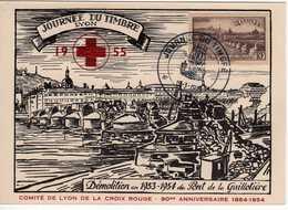 Carte Maximum Avec N°450 Lyon Oblitérée  Journée Du Timbre 1955 - Maximum Cards