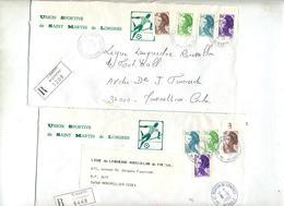 4 Lettres Recommandee Saint Martin De Londres Sur Marianne Gandon Codos 2 Types Etiquette - Handstempels