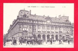 F-75-Paris-985Ph61  La Gare Saint Lazare, Vue Extérieure, Attelages, Cpa BE - Métro Parisien, Gares