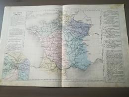 CARTE GEOGRAPHIQUE - FRANCE ITINERAIRE - CHEMIN DE FER - ANNEE 1869 - Cartes Géographiques