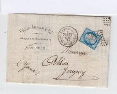 Sur Lettre Type Céres 25 C. Bleu  Oblitéré Losange. CAD Marseille Cours Du Chapitre 1874. Vers Joigny. (843) - Marcophilie (Lettres)