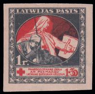 Lettonia - PRO CROCE ROSSA - 1 + 1,30 R. Nero/rosso SU BANCONOTA - 1920 - Lettonia