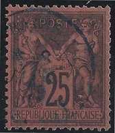 1876 Sage N°91 Obl 25c Noir Sur Rouge N/U Oblitération Dateur En Bleu...TTB - 1876-1898 Sage (Type II)