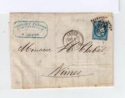 Sur Lettre Type Céres 20 C. Bleu 1871 émission De Bordeaux  Oblitéré Losange.CAD Cette. (844) - Marcophilie (Lettres)
