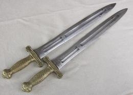 Lot X2 Paire Glaive Artillerie 1816 Officier Kligenthal - Knives/Swords