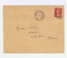 Sur Enveloppe Type Semeuse 10 C. Rouge Oblitéré Cachet Ambulant 1909  Draguignan Aux Arcs. Vers Saillans. (847) - Marcophilie (Lettres)