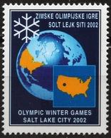 GLOBE Globus Earth USA MAP 2002 Winter Olympics USA Salt Lake City Yugoslavia MNH CINDERELLA LABEL VIGNETTE - Geography