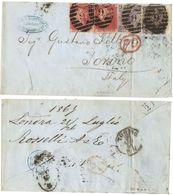 AR191) GRAN BRETAGNA - Letter From London To Torino - 1867 - 2 1d Read, 2 6d ( Plate 6 - 9 ) - 1840-1901 (Regina Victoria)