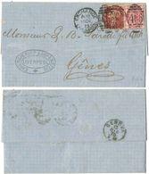 AR188) GRAN BRETAGNA - Letter From Exchange Liverpool To Genes ( Genova ) - 1875 - 1d + 3d Plate 8 - 1840-1901 (Regina Victoria)