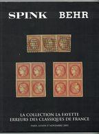 La Collection La Fayette, Erreurs Des Classiques De France, Vente SPINK BEHR 2003 - Catalogues For Auction Houses