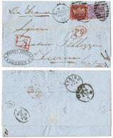 AR189) GRAN BRETAGNA - London To Torino ( Italy ) - 1872 - 1d Red + 6d Plate 9 - Late Fee - 1840-1901 (Regina Victoria)